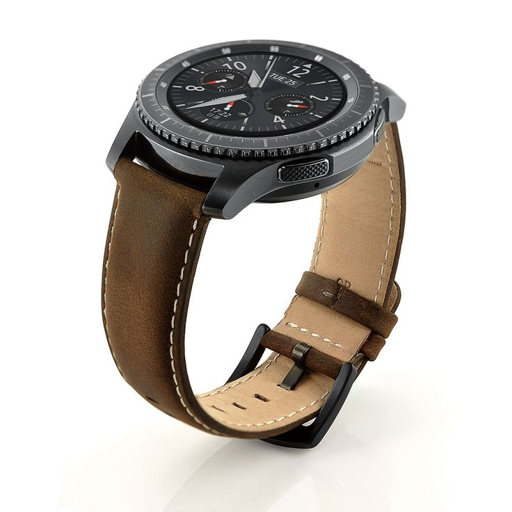 LoveBlue For Samsung Galaxy Gear S3 Classic / Frontier Smartwatch Band 22MM Genuine Leather Strap Replacement Buckle Strap Wrinkled Skin Wrist Band for Samsung Gear S3 (Leather 2 Coffe)
