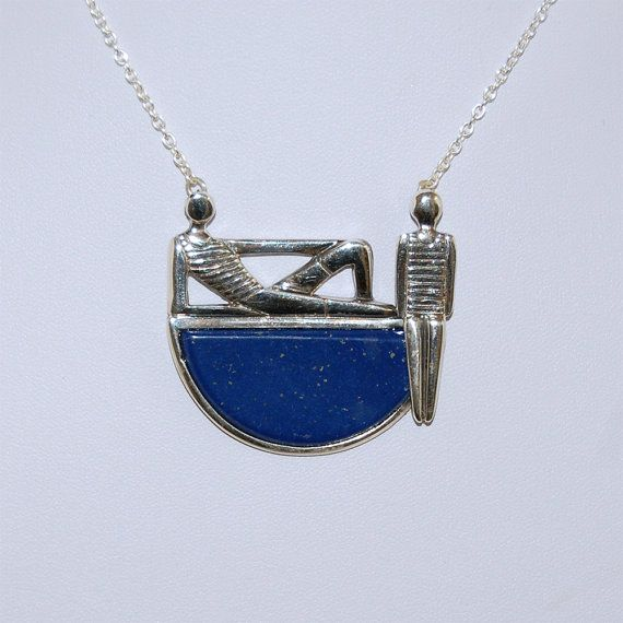 Lapis lazuli necklace Sterling silver necklace by kreitto on Etsy