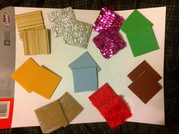 tabliczki sensoryczne: wykałaczki, papier ścierny różnej grubości, futerko, pianka, folia  aluminiowa, gruba przezroczysta folia, tektura falista, pas cekinowy