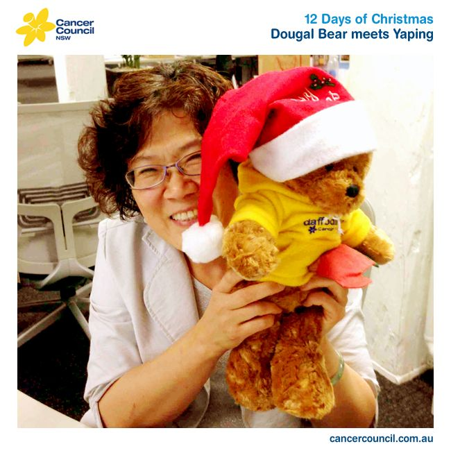 Over the next 12 days of #Christmas, we wanted to introduce you to some of the people who work tirelessly behind the scenes here @Cancer Council. Today we wanted to introduce you to the lovely Yaping Liu. She works in our #Cancer Information Services & Support area, looking after our library of medical and scientific books, which the entire organisation can access. She was a little shy in front of the camera, but Dougal bear talked her around! #cancercouncil