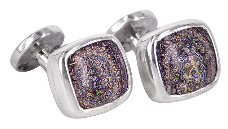 Fordite cufflinks in sterling silver