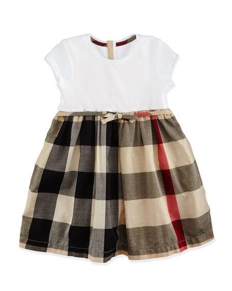 Burberry Cap-Sleeve Check-Skirt Combo Dress, Tan