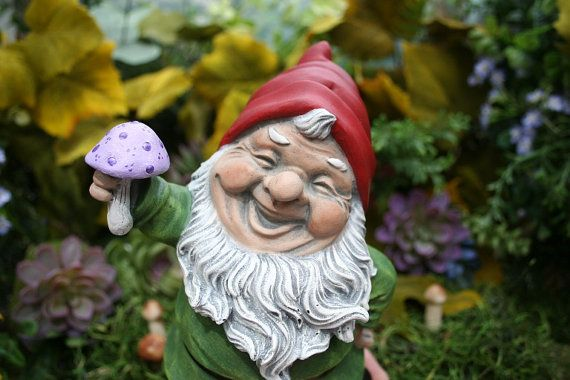 Gnome Garden: Garden Gnome Statue Happy Gnome Holding Up A By