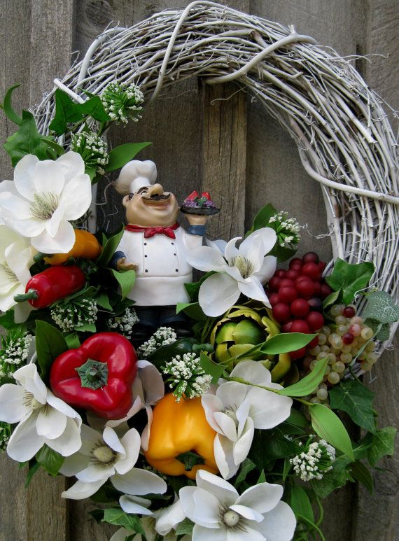 Floral Wreath, Kitchen Decor, Italian Chef, Cottage Chic Magnolias, Fruits,Vegetables    Italian Chef Floral Wreath. A lush bounty of fruits and