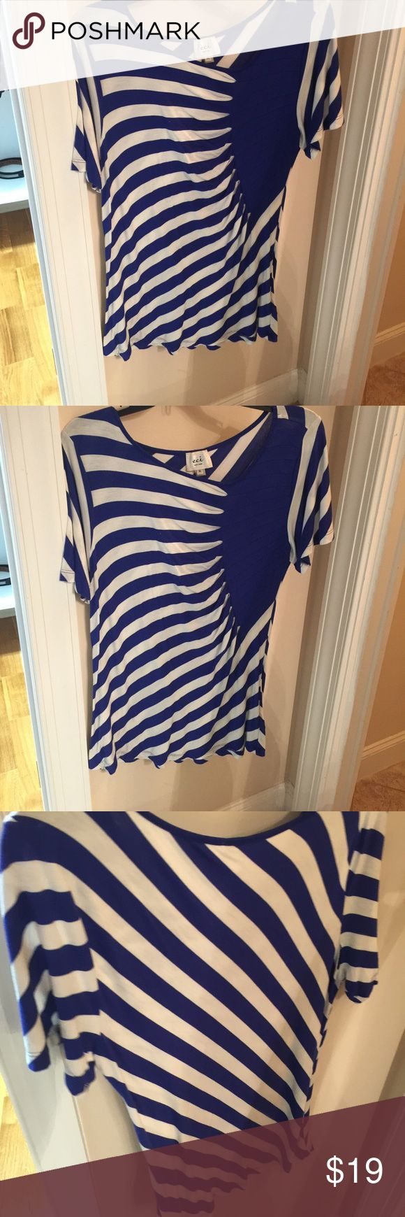 ECI short sleeve Blouse blue and white striped ECI XL Navy and white striped Blouse short sleeve Like NEW ECI Tops Blouses