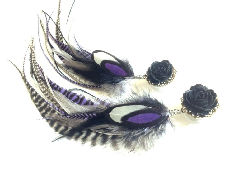 Black Rose Plugs 5/8, 3/4, 11/16, 13/16, 7/8 inch Plugs, Feather Plugs, Purple Dangle Plugs with Feathers 11 Inches Long Feather Gauges. $56.00, via Etsy.