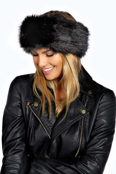 Carla Longpile Faux Fur Headband at boohoo.com Mink