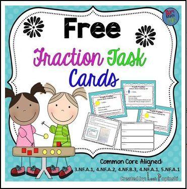 "FREE MATH LESSON - ""FREE Fraction Task Cards"" - Go to The Best of Teacher Entrepreneurs for this and hundreds of free lessons. 3rd - 5th Grade #FreeLesson #Math http://www.thebestofteacherentrepreneurs.net/2015/12/free-math-lesson-free-fraction-task.html"