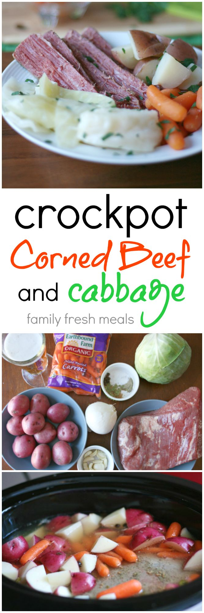 No seasoning packet, add carrots and potatoes to cook all day. Add cabbage 1.5hrs before eating. Lizz