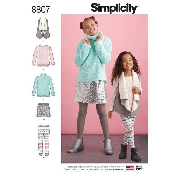 Child and Girls Top Skirt /& Slim Pants Simplicity Sewing Patterns 1334
