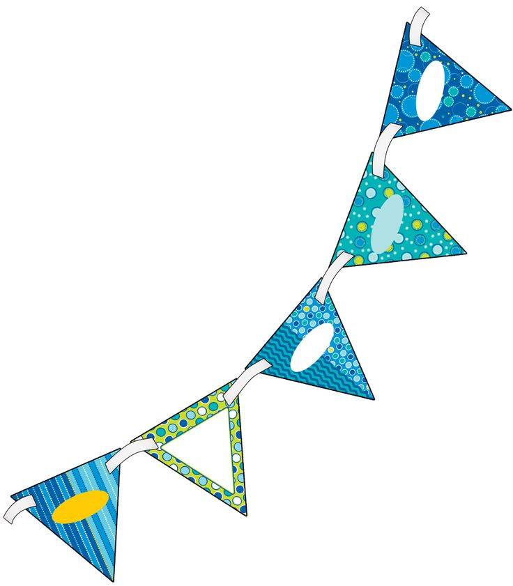 """Bubbly Blues Bunting- Create innovative classroom displays with this double-sided Bubbly Blues Bunting! Perfect for making bulletin boards stand out, or creating bold headlines while adding a personal touch to your classroom décor, open houses, welcome signs, special events, and more! Each pennant is double-sided and pre-punched for easy stringing. Includes (16) 7"""" x 7"""" pennants and one 10' ribbon, large enough to create an impressive display!"""