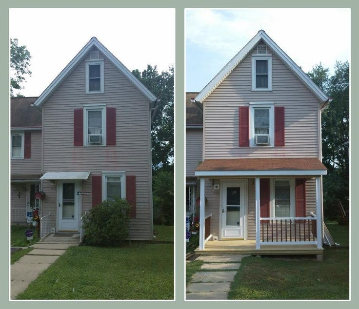 So much better.  What a difference a porch makes!  Do not like maroon shutters
