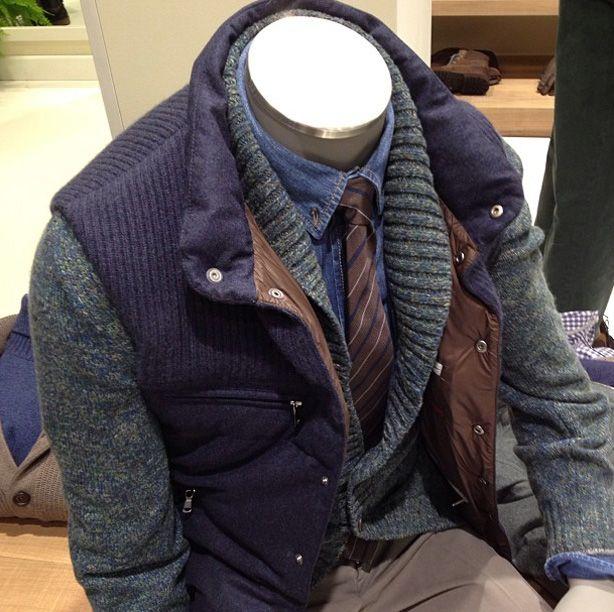 Pitti Uomo Brunello Cucinelli. Winter Layering done properly. Cashmere shawl neck cardigan, cashmere vest. Wow.