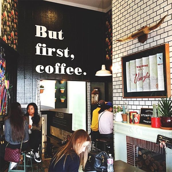 Alfred Coffee It may or may not be illegal to go into Alfred Coffee and not take a photo of this wall. We can't be certain, so you better play it safe.Alfred Coffee, 8428 Melrose Place (near Melrose Avenue); 323-944-0811. #refinery29 http://www.refinery29.com/popular-los-angeles-landmark-photos#slide-30