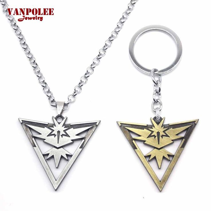 2016 New Pokemon Go Metal Necklace Game Team Instinct Logo Silver Bronze Chain Necklace Pendant Keychain for Women and Men Fans #Affiliate