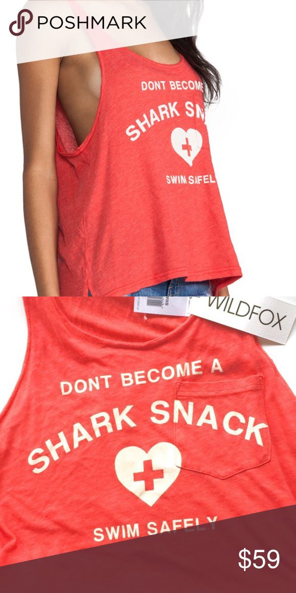 Wildfox Tank! Swim Safely!🦈 Super cute, oversized fit, so soft!  Could fit up to large depending on how you want it to look! Wildfox Tops