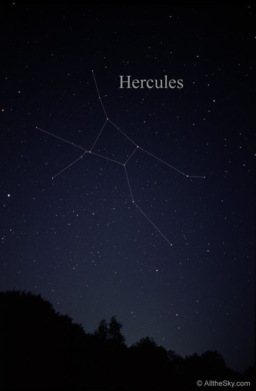 Hercules, the kneeling man. Night sky image and constellation outline are from allthesky.com.