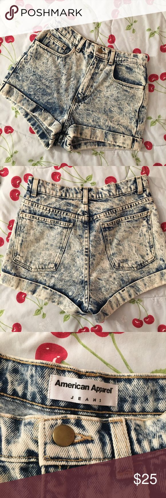 American Apparel Acid Wash Short American Apparel Acid wash jean shorts. High waisted. Five pocket. Flawless. Perfect for summer or fall with tights. Size 27 but would also fit a 25/26. American Apparel Shorts