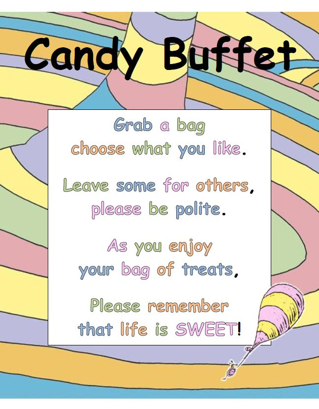 "I created this sign for a ""Oh the Places You'll Go"" themed Baby Shower. It was very cute for the Candy Bar"