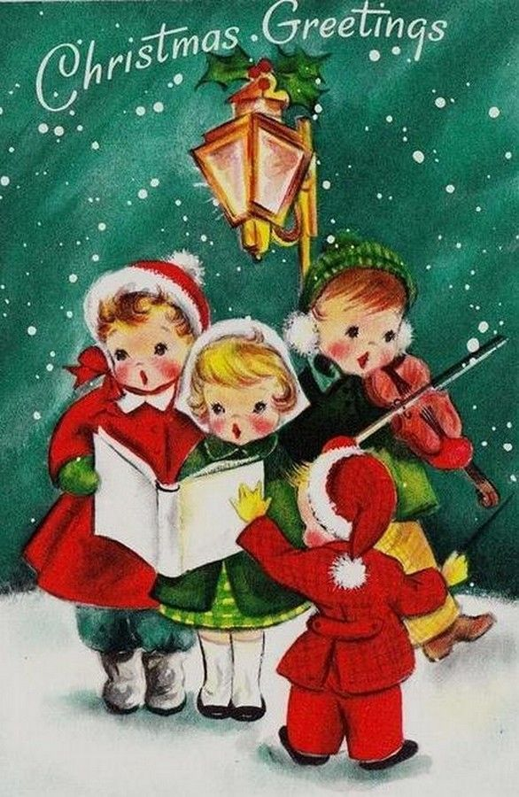 Old Christmas Post Сards — Carolers (586x900)