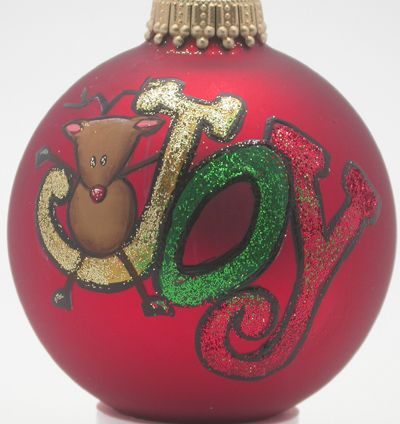 Hand Painted Custom Rudolph with Joy Christmas Ornaments and Christmas Decorations
