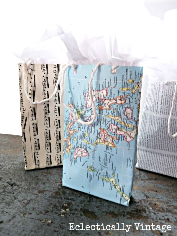 DIY Gift Bags from any Paper - this is genius!  eclecticallyvintage.com