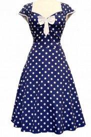 Lady Vintage Wine Red Polka Dot Isabella Dress - Retro en Vintage kleding online | Looks Like Vintage