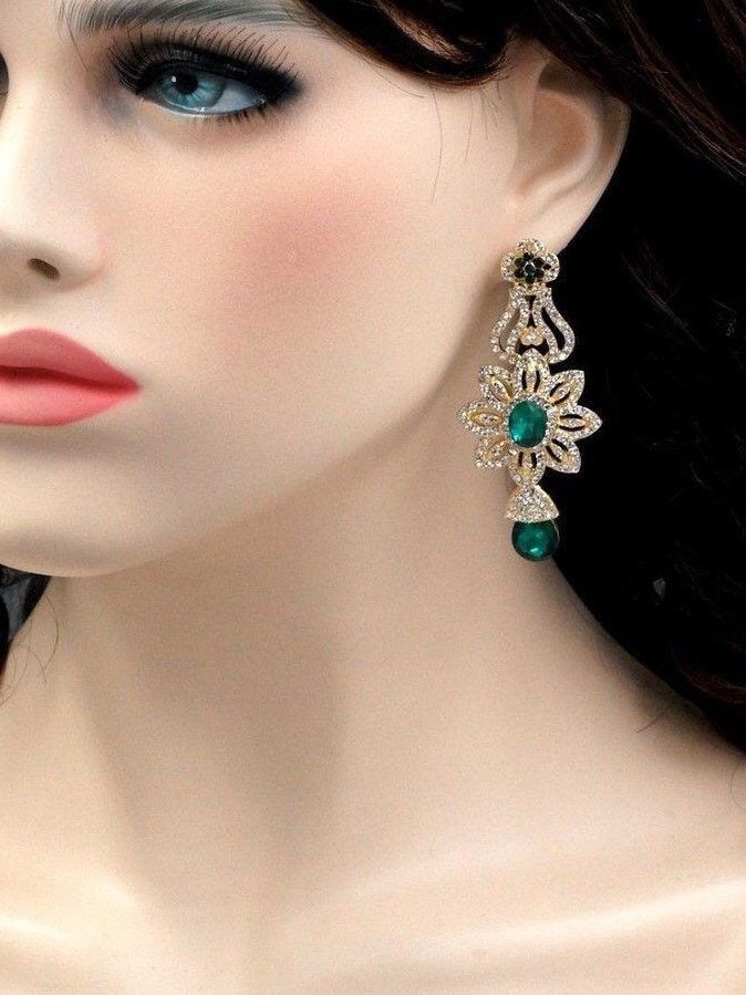 Free shipping 18K Gold Plated GP Emerald Green Crystal Rhinestone chandelier earrings Wedding Gift for her dangle earrings Gift for mom