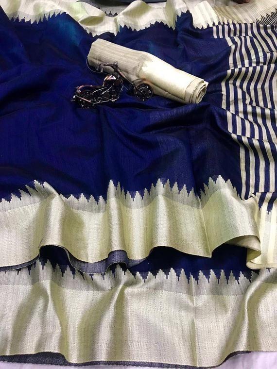 Raw silk With Khadi Weaving Pallu saree and blouse for women designer saree sari wedding saree saree dress indian saree sky blue saree