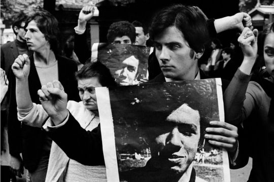 Bruno Barbey: Demonstrators on the day of the funeral of Gilles Tautin, a fellow demonstrator killed during a police raid, Paris, 1968