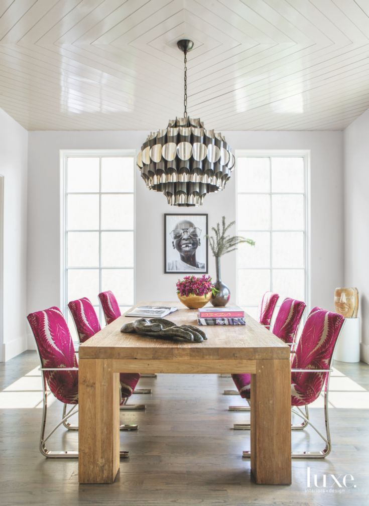 Fuschia Dining Room Reading Chairs With Chandelier And Portrait