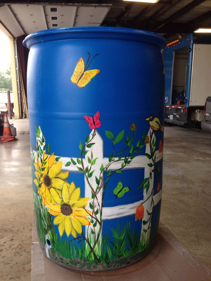 Rain Barrel painted for the Auburn Dept of Water Pollution Control.