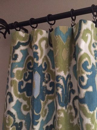 pair of blue green mustard drapery panels curtains lined or