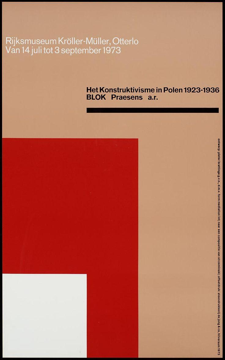 Pieter Brattinga, Rijksmuseum Kröller-Müller Otterlo Het Konstruktivisme in Polen 1923-1936 Blok Praesens a.r, 1973