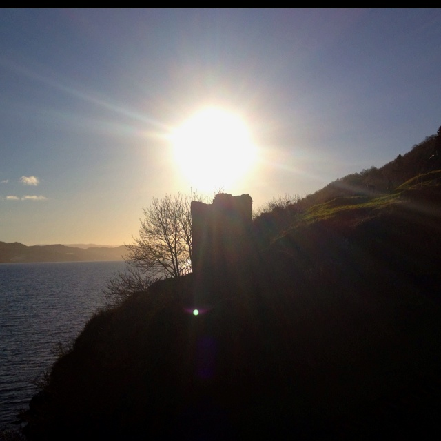 Sun setting at Urquhart Castle in February