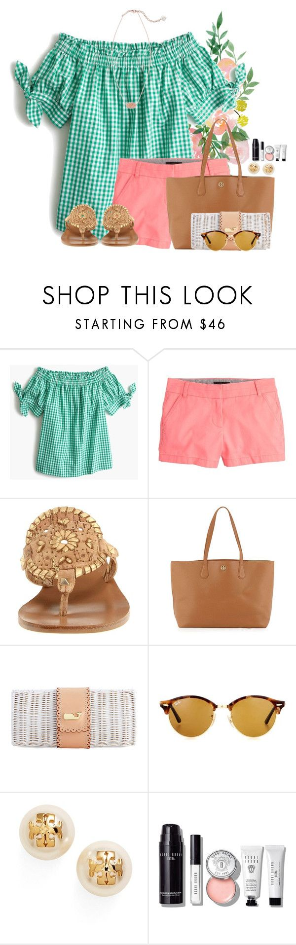 """""""~G is for Gingham~"""" by flroasburn ❤ liked on Polyvore featuring J.Crew, Jack Rogers, Tory Burch, Ray-Ban, Bobbi Brown Cosmetics and Kendra Scott"""