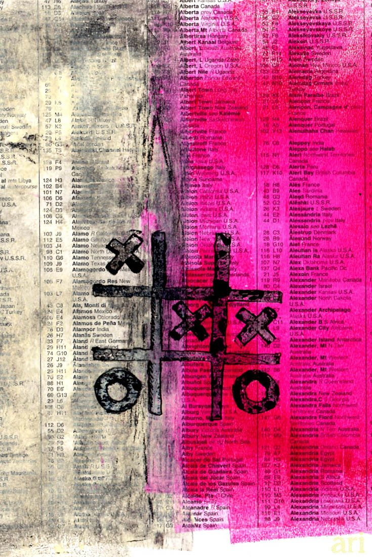 Monoprint on gelli plate printed on recycled paper. Naughts and crosses. Vibrant magenta.