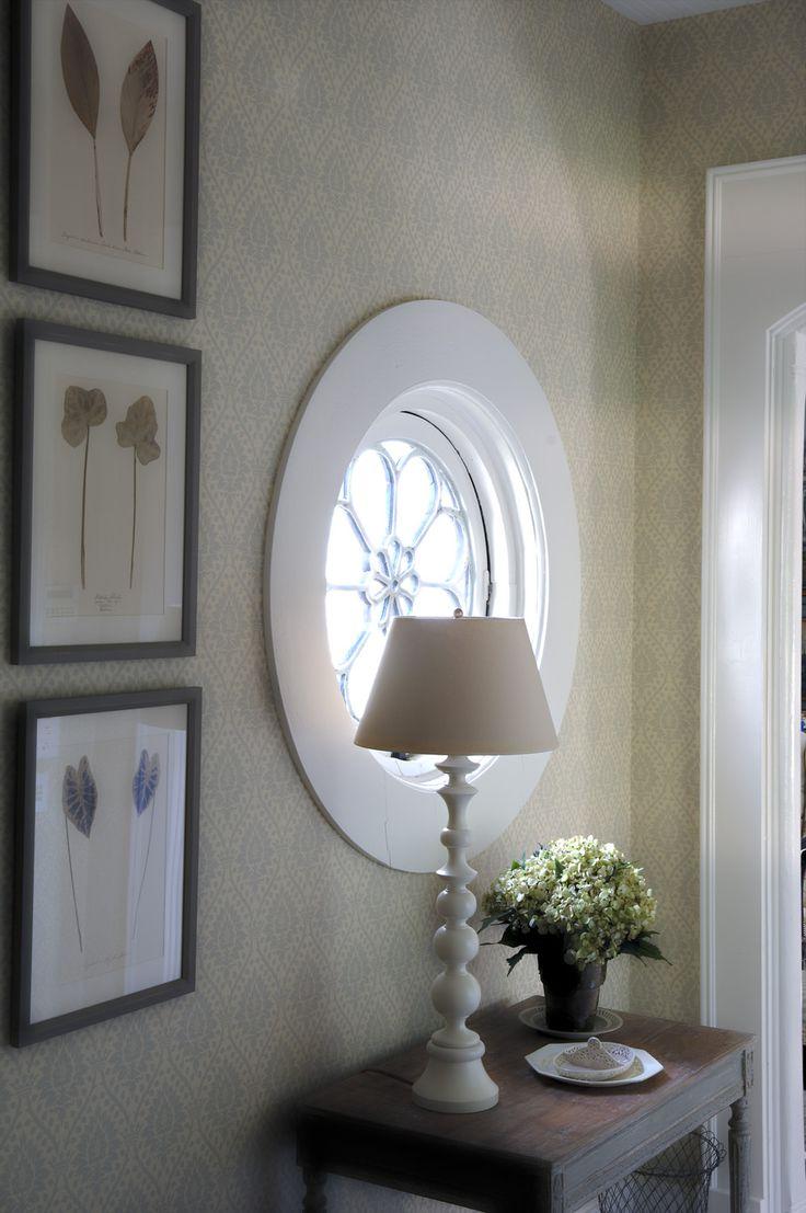 Bassett mirror company carnaby round cocktail leaf new home s - Cathy Kincaid Interiors Farm House Vignette