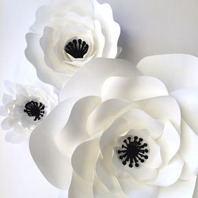 White paper flowers paper flower wall paper flower by PaperFlora