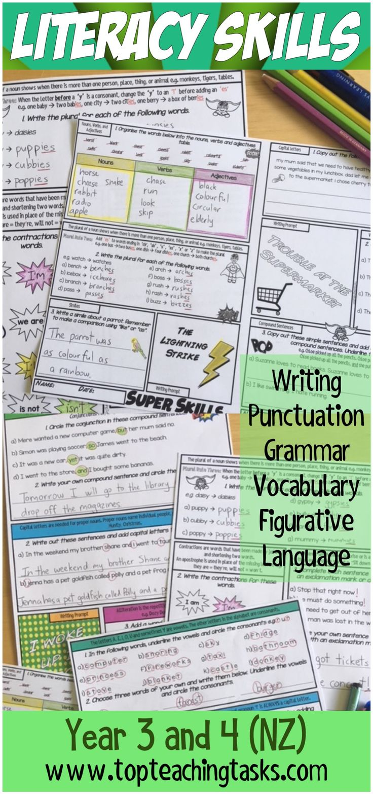 Grammar, punctuation, sentence structure, spelling and figurative language feature in this year-long resource. Nouns, Verbs, Pronouns, Verb Tenses, Adjectives, Proper nouns, Conjunctions, Prepositions, Precise Verbs, Simple Sentences, Compound Sentences, Complex Sentences, Sentence Openers, Sentence Punctuation, Full stops, Capital Letters, Commas for lists, Speech Marks, Question Marks, Exclamation Marks #literacyskills #figurativelanguage #punctuation #grammar