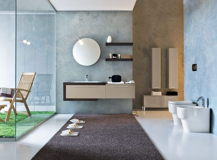 Images On Modern Wall Mount Bathroom Furniture And Floating Shelf Also Round Vanity Mirror Feat Elegant Large Rug