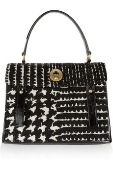 Yves Saint Laurent|Muse Two Prince of Wales check tweed tote|NET-A-PORTER.COM - StyleSaysLaurent Bags, Yves Saint Laurent, Handbags, Laurent Muse, Prince, Tweed Totes, Black White, Check Tweed, Wales Check