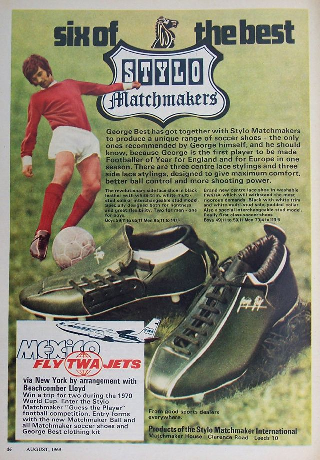 George Best Stylo Matchmaker boots 1969