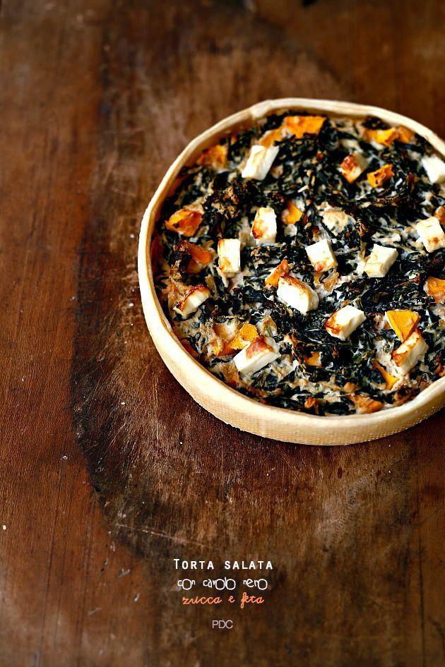 Torta salata con cavolo nero zucca e feta