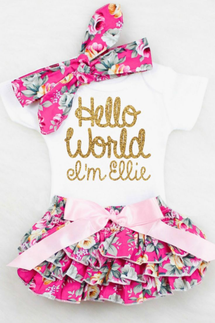 Hello World Personalized Onesie - The perfect outfit for Summer babies! Always the favorite Baby Shower Gift, Baby Girl Coming Home Outfit, Newborn Girl Outfit, Baby Girl Take Home Outfit, Baby Girl Clothes, Newborn Girl Coming Home Outfit, Pink Floral Bloomers