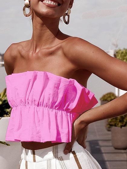 ae3bd878e68 Pink Bandeau Ruffle Trim Open Back Women Crop Top   Clothes in 2019 ...