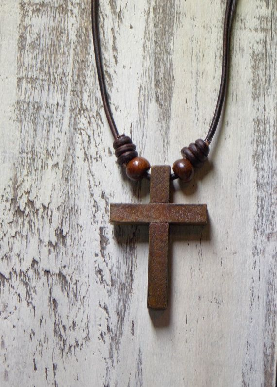 Leather Necklace Wood Cross Necklace Childs Leather and Wood Necklace Distressed Rustic Leather Necklace Spiritual Natural Elements Jewelry