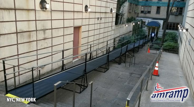 The City of New York closed down the front entrance of this residential apartment building on East 23rd Street in Manhattan for repairs. The building owners turned to Amramp Long Island to install this 84 foot ADA compliant modular wheelchair ramp to provide temporary access for their residents and visitors while the repairs are being completed.