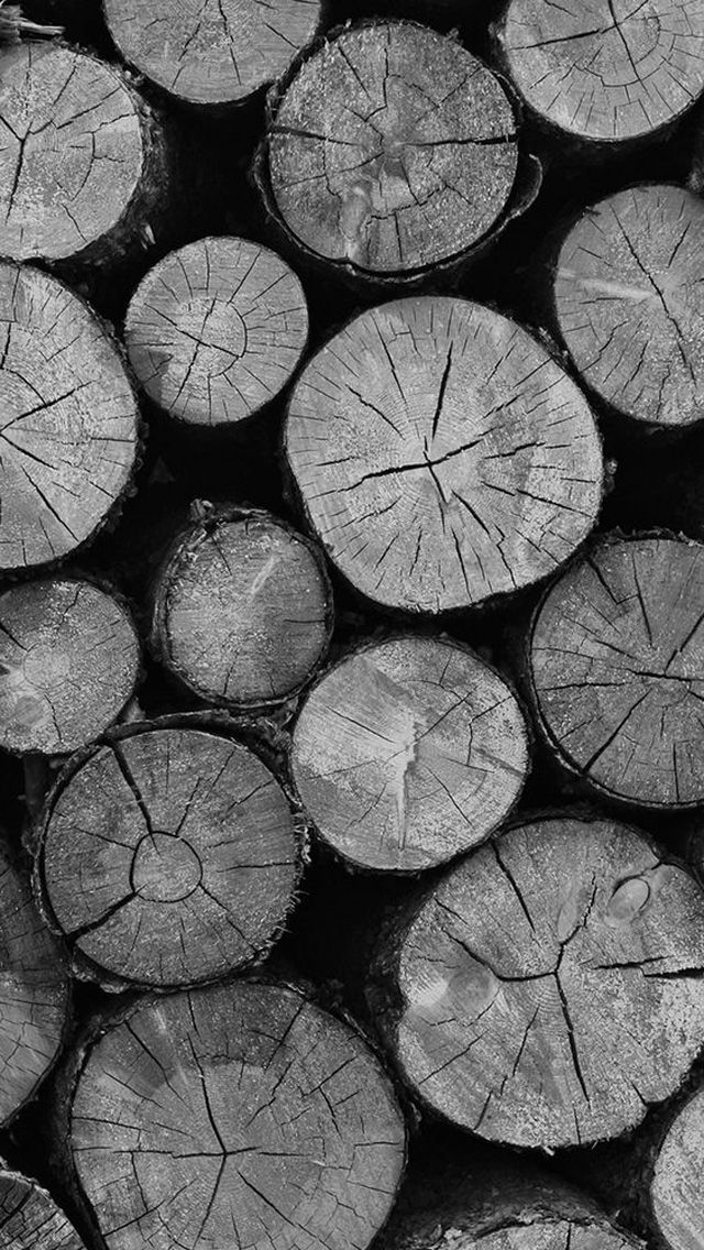 Stacked Cut Wood Logs Black And White iPhone 5 Wallpaper