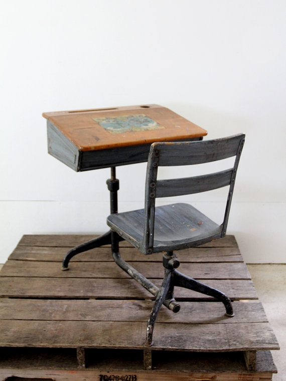 Vintage School Desk // Children's Desk by 86home on Etsy, $268.00 - 130 Best Vintage School Desk Images On Pinterest Vintage School